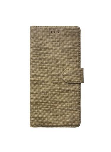 Microsonic Casper Via F20 Kılıf Fabric Book Wallet Gold Altın